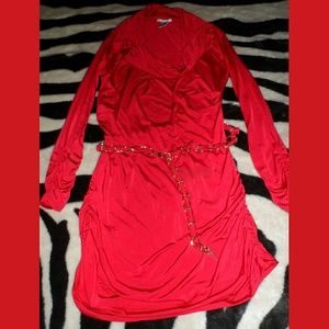 Silk Red Blouse with chain belt XS